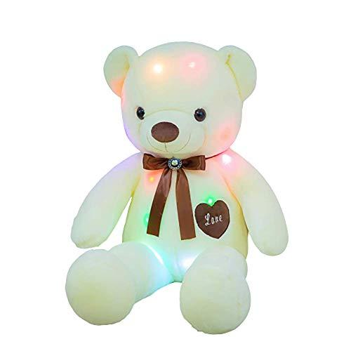 LISI Leuchtende Plüschtier Kreative Nachtlicht Teddybär Bär Stofftier Leuchtende Puppen für Baby Kleinkind Neujahr Geschenk Puppen,Weiß,70cm