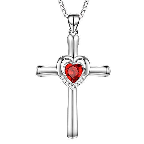 Sterling Silver Cross Necklace with Heart-Shaped Ruby Red Swarovski Crystals Jewelry Infinity Love Cross Necklace Birthday Gifts for Teens Women