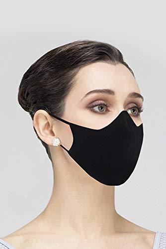 face mask for women Wear Moi Unpleated Cotton Face Mask, Reusable, Women, Black (MSK008BLAWOM)