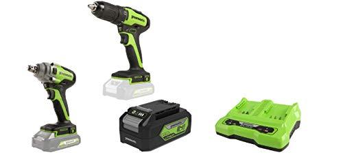 Greenworks Tools GD24DD35 Akku- & Bohrschrauber, 24 V+ Akku-Schlagschrauber +Akku G24B4 2.Generation +Doppelsteckplatz-Akku-Universalladegerät G24X2C