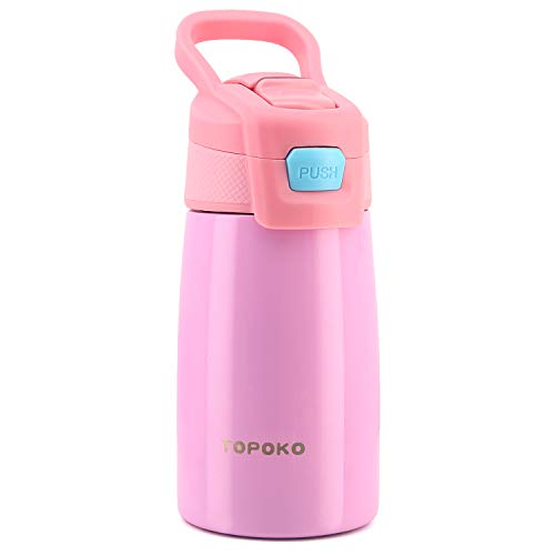 AUTO FLIP 12 OZ Stainless Steel Kids Water Bottle for Girls Double Wall Beverage Carry Kid Cup Vacuum Insulated Leak Proof Thermos Handle Spout BPA-Free Sports Bottle for Boys (Coral)