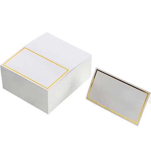 Platz-Karten Tabellen Name Zelt-Platz-Karten Sitzplatz Karten für Hochzeit, Bankett, Abendessen, Party und Festival, 2 x 3,4 Zoll (Gold)
