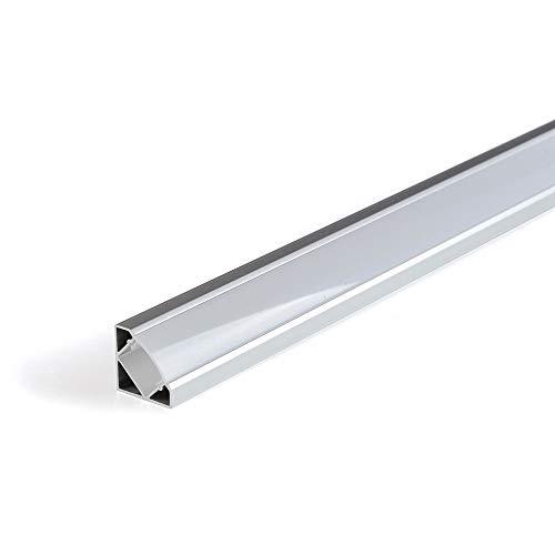 Perfil de aluminio 1818 angular 1 metro para tiras Led con tapa (Blanco)