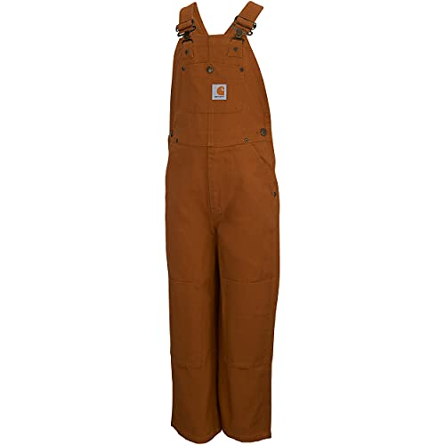 Carhartt Boys  Toddler Bib Overalls (Lined and Unlined), Brown Canvas, 4