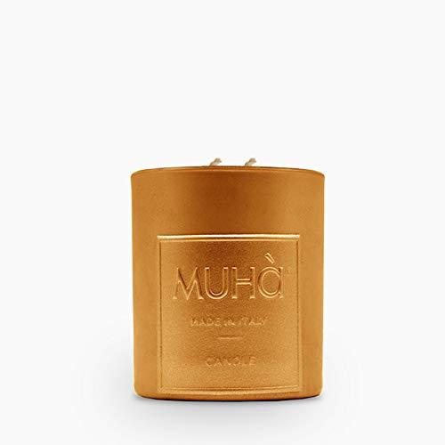 MUHA' Vela grande de 300 g, diseño perfumador ambiente, fabricada en Italia, artesanal, cera vegetal, 87 x 98 mm