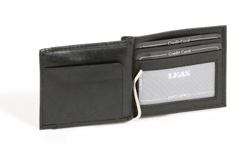LEAS Dollar Clip Geldscheinklammer Geldklammer Money Clip mit Kleingeldfach Echt-Leder, schwarz Special Edition
