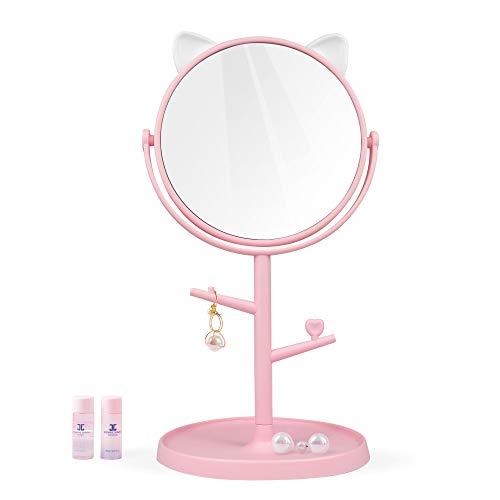 Desk Mirror for Makeup&Freestanding Pink Mirror, Folding Design for Tabletop