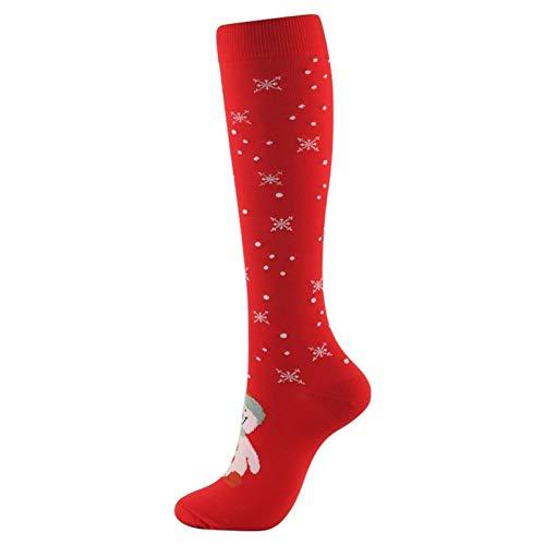 XiaoG Weihnachten Kompressionsstrümpfe der Qualitäts-Mann-Frauen-Druck Socken Compress Sport Muster Lauf Knee High Nylon Run Socken (Color : Snowman, Size : S M)