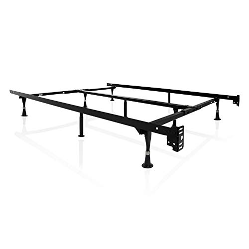 MALOUF STRUCTURES Heavy Duty 9-Leg Adjustable Metal Bed Frame with Double Center Support and Glides Only - UNIVERSAL (Cal King, King, Queen, Full XL, Full, Twin XL, Twin), Standard 7.5†Clearance (ST6633GL)