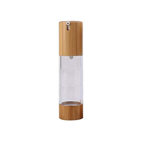 1PCS 50ml 1.7oz Vacío recargable Eco Bamboo Plastic Airless Bomba de vacío Prensa Botella Tarro Vial Dispensador de loción Viaje Contenedores cosméticos Soporte para suero de esencia de emulsión