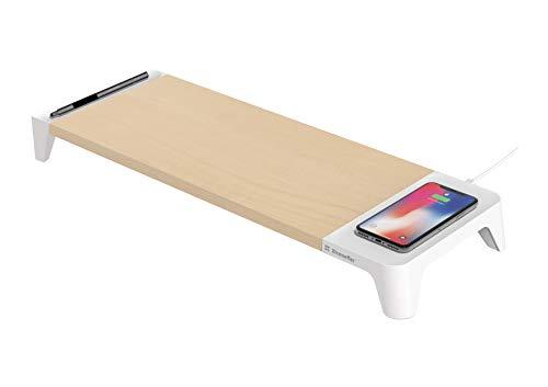 XtremeMac Monitorständer für iMac, Laptopablage für MacBook, Notebook - Bildschirmerhöhung für ergonomisches Arbeiten, Tastaturfach mit kabelloser Ladefunktion mit Qi-Ladestation für iPhone