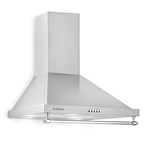 Klarstein Montblanc - Campana extractora de pared, 3 niveles, Extracción hasta 610 m³/h, Potencia 165 W, Juego montaje incluido, Tubo salida de aire, Ancho 60 cm, Filtro de aluminio, Luz LED, Platedo