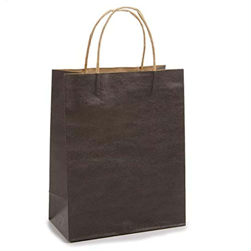 Darice 1 Piece, 8 by 10.5 by 4.25 inch, Solid Color Paper Bag with Handle, Black