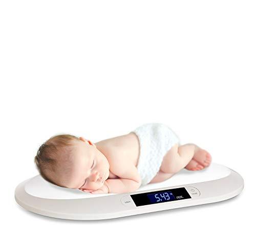 ADE Báscula digital BE 1817 para bebés y niños pequeños de hasta 20 kg, especialmente plana, con pantalla LCD y función de pesaje, color blanco