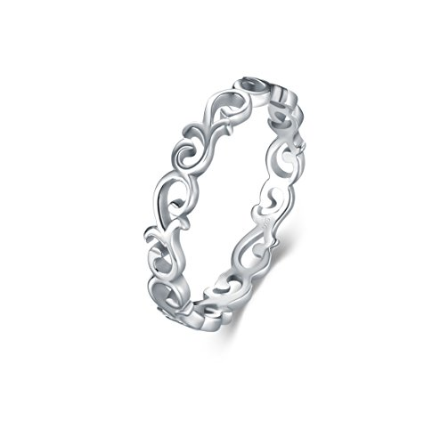 BORUO 925 Sterling Silver Ring Celtic Knot Heart High Polish Tarnish Resistant Eternity Wedding Band Stackable Ring Size W