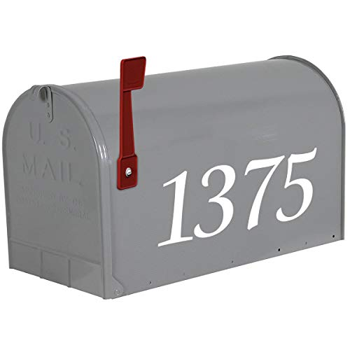 VWAQ Customized Mailbox Numbers Decal - Personalized Street Address Vinyl Stickers - CMB17 (White)