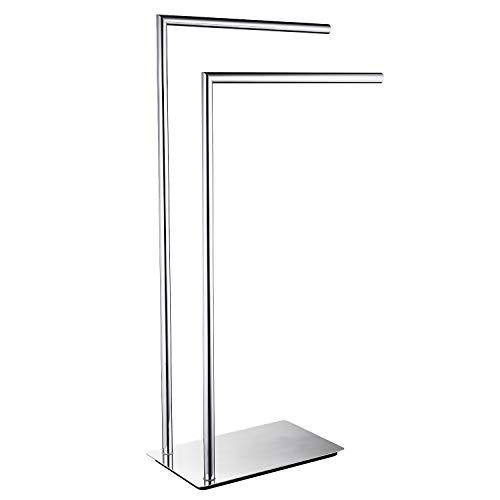 LANGPAI Freestanding Double Towel Racks Bathroom Accessories Towel Holder Stand on Floor Brass Chrome …