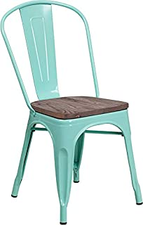 Emma + Oliver Mint Green Metal Stackable Chair with Wood Seat
