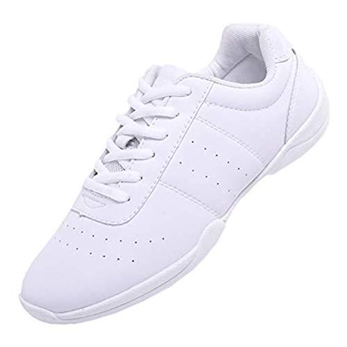 DADAWEN Damen Cheerleading Schuhe Mädchen Tanz Turnschuhe Yoga Training Schuhe, Weiß, 30 EU