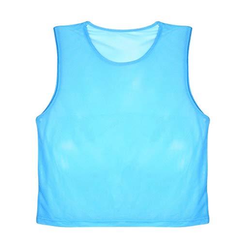 VGEBY 12er Set Erwachsene Fußball Trainingsweste Trainingsleibchen Markierungshemd für Volleyball Fußball Basketball (Farbe : Blau)