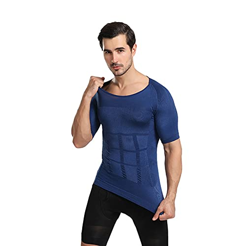 2021 Men's Shaper Slimming Compression T-Shirt for Sports and Fitness Elastic Slim (Blue, M)
