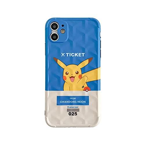 Velyon ljusblå kreativ icket cartoon pokemon Pikachu telefon fodral mjukt skydd gummi telefonskydd för flickor pojkar kompatibel med IPhone11/11Pro max/12/12Pro/12Pro max telefonskal