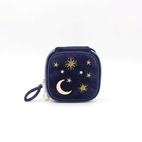 Maquillage Sac Velours Broderie Cosmétique Cas Organisateur Femmes Zipper De Stockage avec Moon Star11 * 11 * 5cm-blue_11 * 11 * 5cm