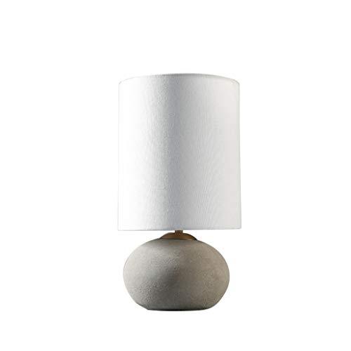 zlw-shop Lámpara de Mesa Hormigón Mesa de Piedra y viga Redonda Industrial Desk lámpara de Sombra Blanca, 17' H Lámpara Mesilla de Noche