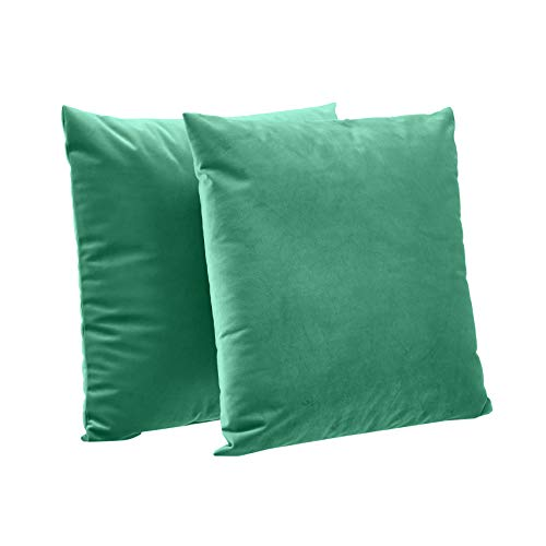 AmazonBasics Cojines decorativos con forro de terciopelo, paquete de 2, 46 cm, Verde Esmeralda