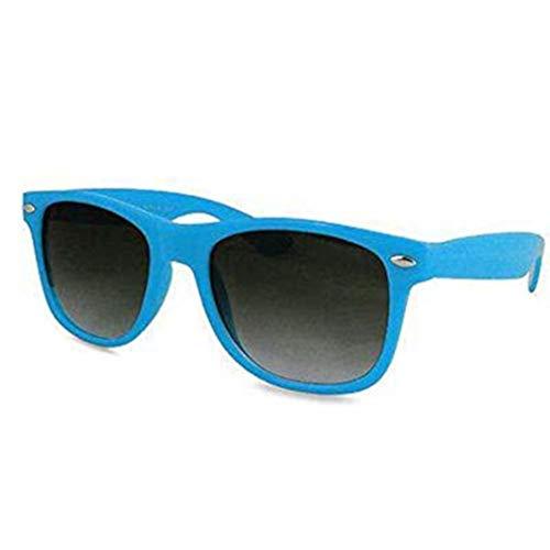 Gafas de sol clásicas para hombre y mujer, estilo retro aviador UV400 (marco azul claro, lentes negras)