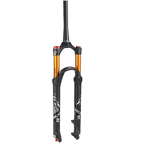 aiNPCde Mountain Bike Lega di Alluminio Bicicletta Forcella MTB Air 26/27,5/29 Pollici, Controllo delle Spalle Ammortizzatore Forcella Ammortizzata Oro Nero