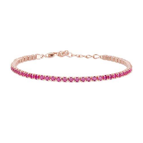 bracciale tennis mabina argento 925 rosè con rubino sintetico
