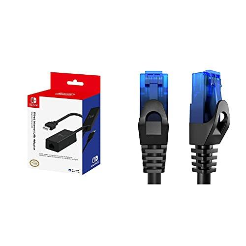 HORI Switch LAN Adapter [Nintendo Switch] & KabelDirekt – 5m – Netzwerkkabel, Ethernet, LAN & Patch Kabel (überträgt maximale Glasfaser Geschwindigkeit, blau)