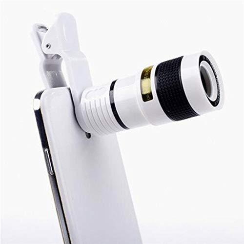 MaikcQ Lente de cámara de teléfono celular, lente de teleobjetivo zoom 12X, lente de teléfono HD para iPhone, Samsung, Android, telescopio monocular (blanco)
