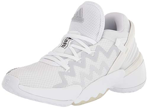 adidas unisex adult D.o.n. Issue 2 Indoor Court Shoe, White/Black/Sky Tint, 4 US