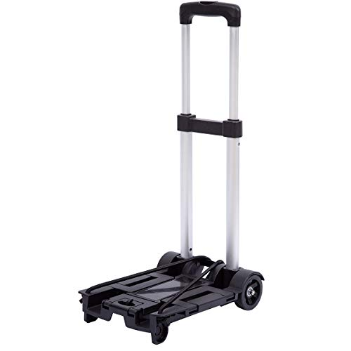 Lumiffy Folding Luggage Cart Portable Hand Truck Folding Hand Truck with 2-4 Wheels for Backpack Airport Travel Heavy Duty (Two-Wheels)