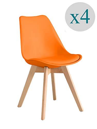 ARYANA HOME - Pack De 4 Silla nórdica Scandi Color Naranja