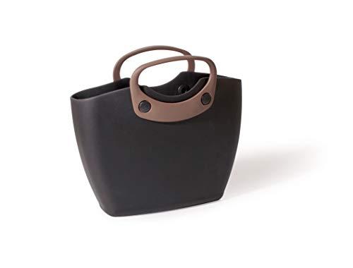 GF GARDEN for The Living Bag 2 Einkaufstasche aus Kunststoff, mit kurzen Henkeln, farbig, Plastik, Schwarz