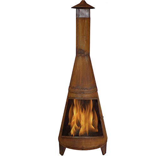 Sunnydaze Rustic Chiminea - Outdoor Wood-Burning Fire Pit - Large 70 Inch Tall - Freestanding Fireplace for Backyard, Lawn and Garden - Oxidized Rustic Finish
