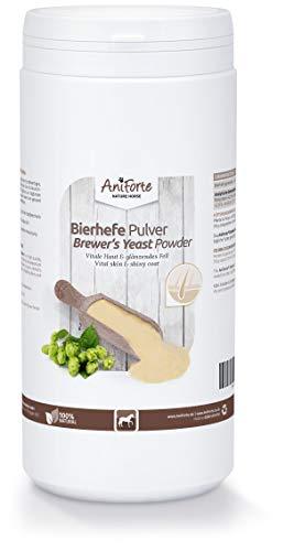 AniForte Reine Bierhefe Pulver für Pferde 1kg - Naturprodukt, Glänzendes und kräftiges Fell, Vitale Haut, Reich an B-Vitaminen, Mineralien & Spurenelementen