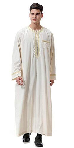 Heren ronde kraag Saoedi-moderne Thobe Arabische Casual islamitische moslim Dubai gewaad losse vintage etnische stijl Tuniek Tops