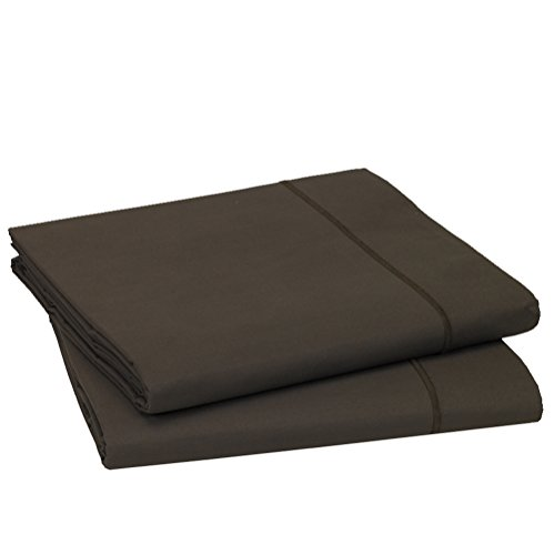 Blanc des Vosges Uni Percale Drap Coton Marron Glace 180 x 290 cm