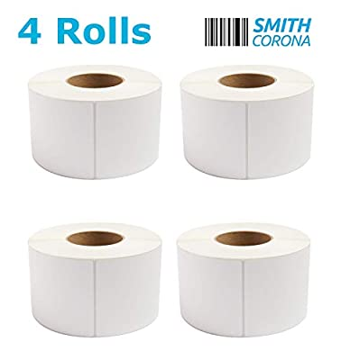 """Smith Corona - 4 Rolls - 4'' x 6'' Direct Thermal Labels, 3'' Core, 4000 Labels Total, Made in The USA, for 3"""" Core Industrial Printers (4 Rolls) - Zebra Compatible"""