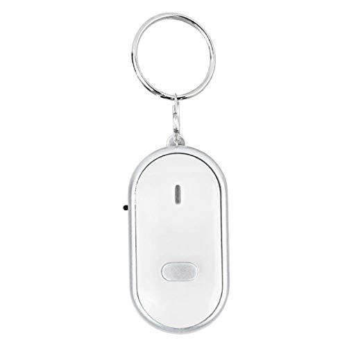 Localizador de buscador de llaves, batería de duración ultralarga, dispositivo antipérdida de control de voz pequeño y hermoso simple, almacenes, hogares, escuelas, tiendas(white)