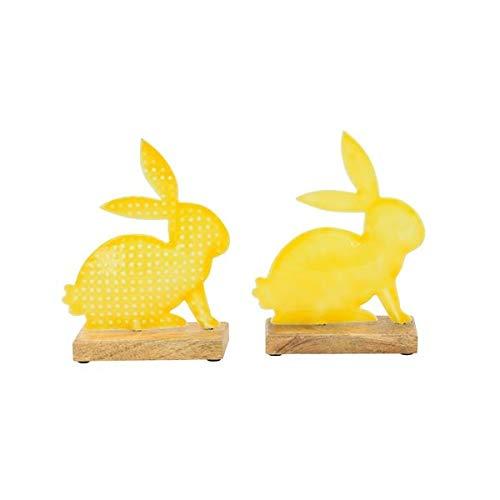 Juego de 2 conejos de Pascua con base de madera de Mitiene, decoración de Pascua multicolor, conejos de Pascua, verde y amarillo, decoración de primavera, conejo de Pascua, amarillo