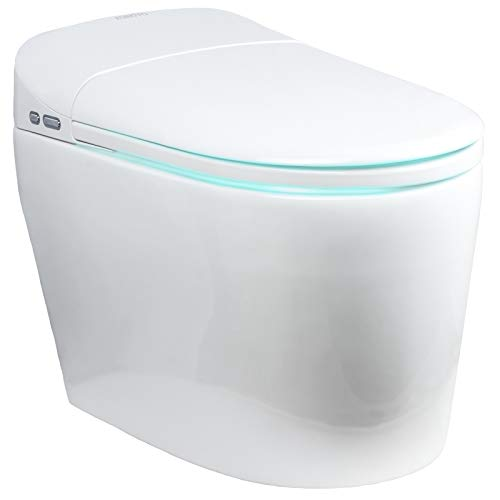 EUROTO [Newest 2021] One-Piece Dual Flush, Integrated Bidet and Toilet,luxury auto open and close lid heated seat, warm dryer and air deodorizer, White (Foot Feel Flip Flap Smart Toilet)