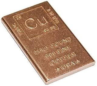Half Pound Copper Bar Bullion Paperweight with Element Design (1/2 Pound Copper Bar)