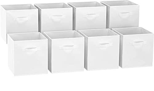 GREATOOL Caja de Almacenaje Plegable, Pack 8 Unidades 31x31x31cm, Cajas organizadoras en Tela, Caja para organizar Ropa, Juguetes y Sábanas en Armarios (8 Unidades, Blanco)