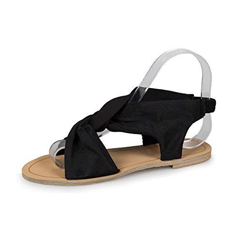 ZJMM Sandalias Negras De Verano para Mujer, Sandalias De Verano para Mujer, Cabeza Redonda, Sandalias Planas para Mujer, Zapatos De Mujer, Talla Grande