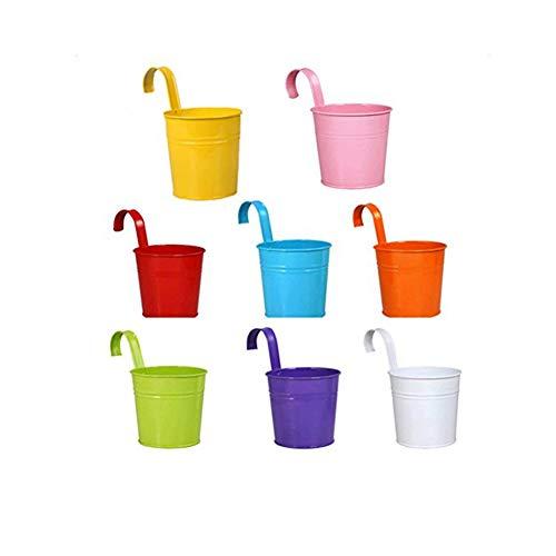 westeng 8Stück Sukkulenten Blumentopf Vase zum Aufhängen Eisen Behälter Eimer mit Haken Balkon Garten Übertopf Dekoration